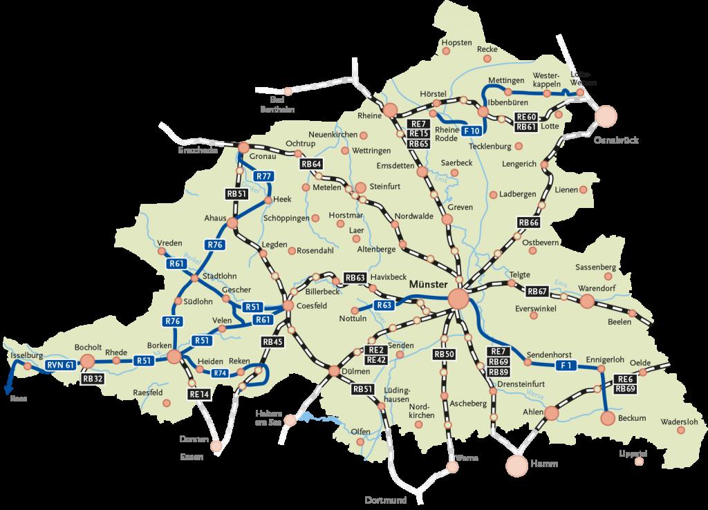 Karte Münsterland.Radfahren Bubim Zvm